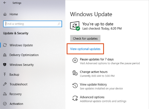 Download the optional updates of Windows 10- view optional update