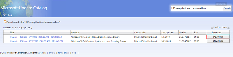 Microsoft Update Catalog- download the HID compliant screen driver