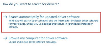 Search automatically for updated driver software in windows 10