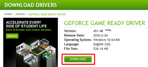 download NVIDIA GeForce Game Ready Driver