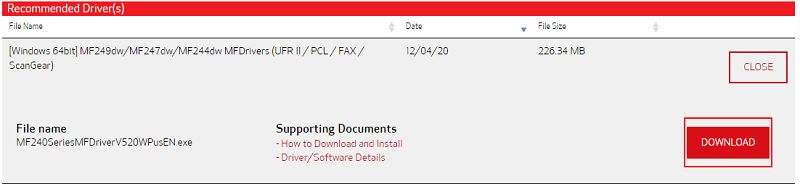 Download the driver MF244dw