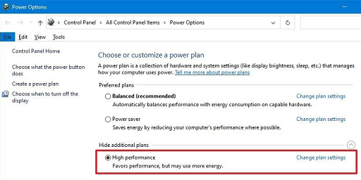 Change your PC's power plan to high performance- choose high performance