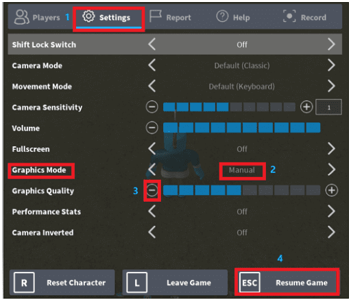 Change the graphic settings