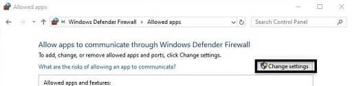 change the firewall setting