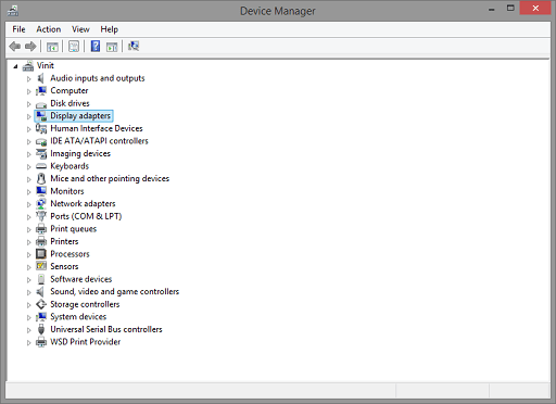 Update the Driver Manually- open device manager and select diplay adapter