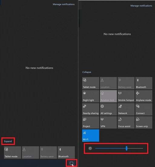 Use the Action-Notification Center to Change the Brightness