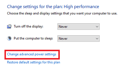 Change advanced power settings from the window