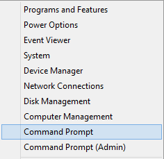Right-click on the Start Menu and select Command Prompt