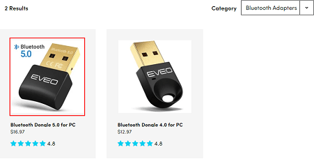 Identify your Bluetooth adapter from the on-screen products