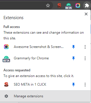 Remove or Disable Extensions- Manager the extension