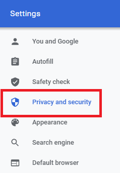 Reset Chrome Settings- click on privacy setting