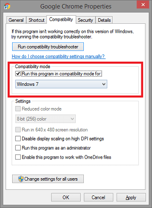 Run this program in compatibility mode for and select Windows 7