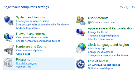 Click on Uninstall a program