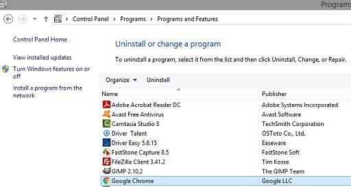 Reinstall Google Chrome