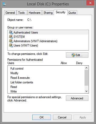 Allow Editing on Hard Drive-Open properties