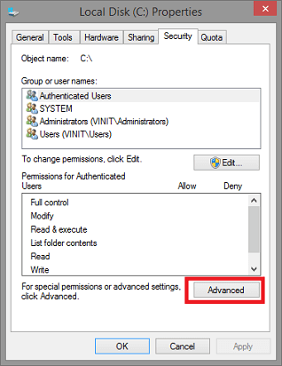 Allow Editing on Hard Drive- click on advanced