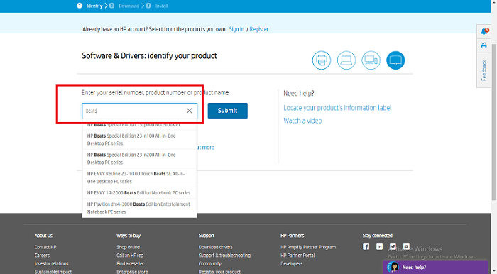 search the HP Beats Audio Driver from HP Support