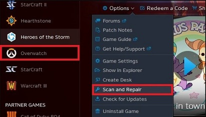 Repair the Game Files- select overwatch options and scan and repair