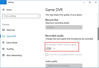 Now switch to the Game DVR menu and turn off Record Audio When I Record a Game