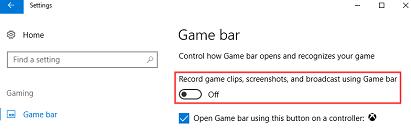 Change Game Bar and Game DVR Settings