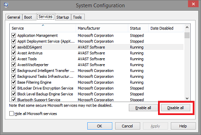 system configuration- disable all