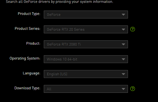 download the RTX 2080 drivers from the official NVIDIA website