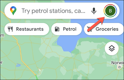Turning off Google location history on Android- tap on profile icon
