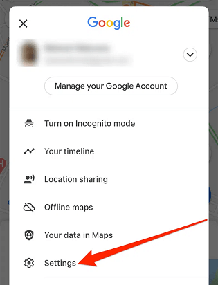 Turning off Google location history on Android- click on setting