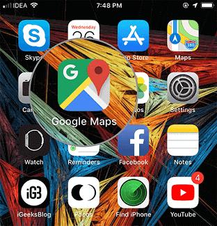 Turning off Google location history on iPhone- opne google maps