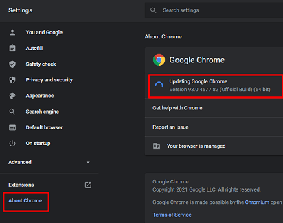 Update Google Chrome- about chrome