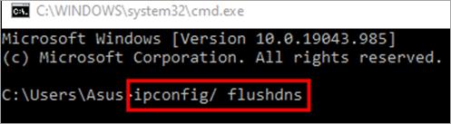type ipconfig flushdns and press Enter