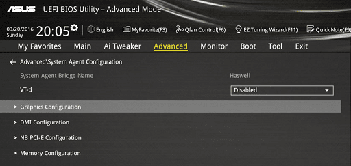 Video or Graphics Configuration
