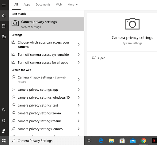 Allow apps to access your camera-open the camera privacy setting