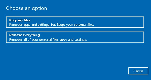 Reset the Windows to the Previous Version- select keep my files