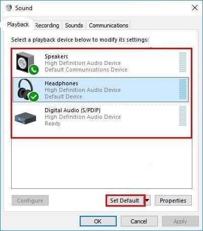 Change the Default Device Accordingly
