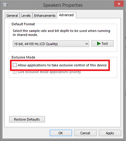 Allow applications to take exclusive control of this device option