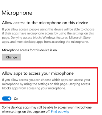 Toggle on Allow apps to access your microphone