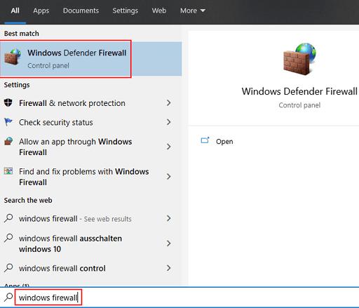 Disable the antivirus - Windows Firewall