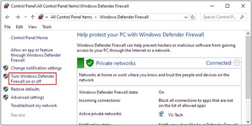 Disable the antivirus- Turn windows defender firewall on or pff